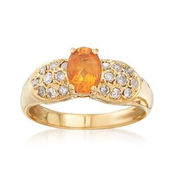 C. 1990 Vintage .70 Carat Citrine and .30 ct. t.w. Diamond Ring in 14kt Yellow Gold. Size 6, , default