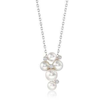 """Mikimoto """"Bubbles"""" 4.7-6.2mm A+ Akoya Pearl Cluster Necklace With Diamond Accents in 18kt White Gold. 18"""", , default"""