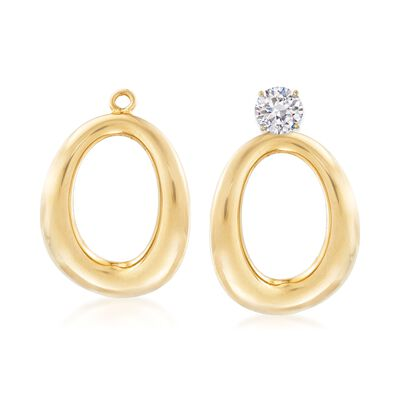 14kt Yellow Gold Puffed Oval Drop Earring Jackets, , default