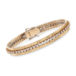 "C. 1980 Vintage 3.00 ct. t.w. Diamond Link Bracelet in 14kt Yellow Gold. 6 7/8"", , default"
