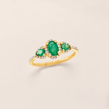 .60 ct. t.w. Emerald and .15 ct. t.w. Diamond Ring in 14kt Yellow Gold