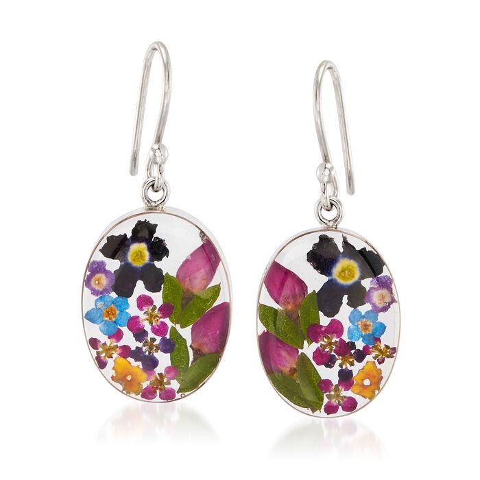 Dried Flower Oval Drop Earrings in Sterling Silver, , default
