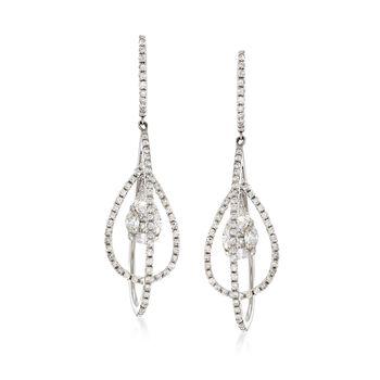 1.33 ct. t.w. Diamond Cluster Open-Space Teardrop Earrings in 14kt White Gold, , default
