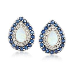 Opal, Diamond and Sapphire Stud Earrings in 14kt White Gold, , default