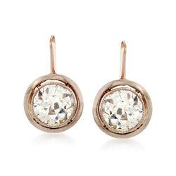 C. 1930 Vintage 1.80 ct. t.w. Diamond Drop Earrings in 14kt Yellow Gold, , default