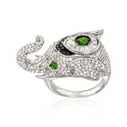 4.27 ct. t.w. Multi-Stone Elephant Ring in Sterling Silver, , default