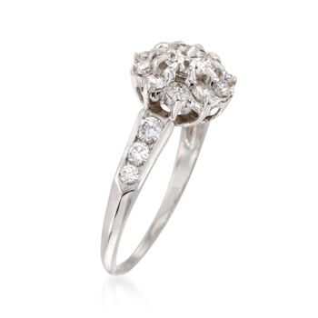 C. 1980 Vintage 1.60 ct. t.w. Diamond Floral Ring in 14kt White Gold and Platinum. Size 7.5, , default