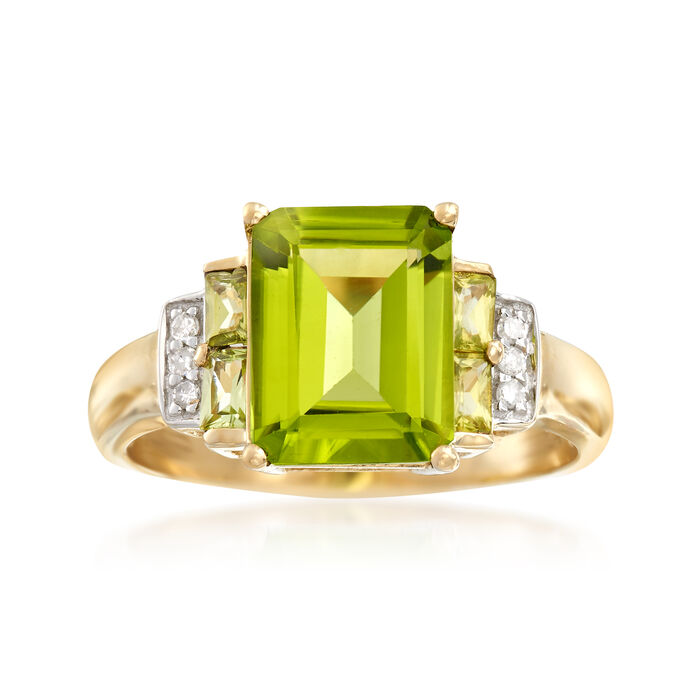 3.80 ct. t.w. Peridot Ring with Diamond Accents in 14kt Yellow Gold