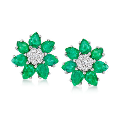 2.10 ct. t.w. Emerald and .15 ct. t.w. Diamond Flower Earrings in 14kt White Gold