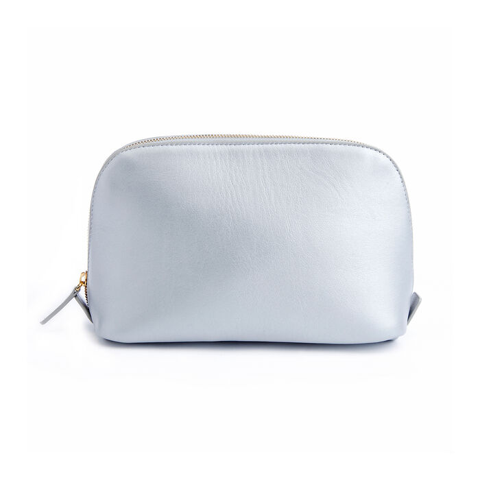 Royce Silver Leather Cosmetic Bag, , default