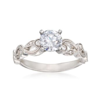 Simon G. .13 ct. t.w. Diamond Scroll Engagement Ring Setting in 18kt White Gold, , default