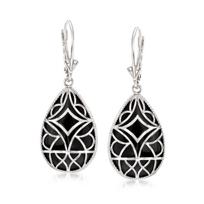 Black Onyx Drop Earrings in Sterling Silver, , default