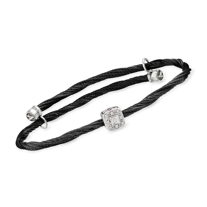 """ALOR """"Noir"""" Black Stainless Steel Cable Stretch Bracelet with Diamond Accents in 18kt White Gold"""