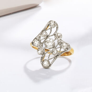 C. 1950 Vintage .55 ct. t.w. Diamond Swirl Ring in 14kt Yellow Gold and Platinum. Size 6, , default