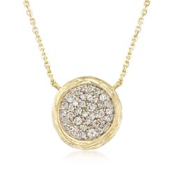 ".40 ct. t.w. Pave Diamond Textured Circle Necklace in 14kt Yellow Gold. 16"", , default"