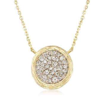 """.40 ct. t.w. Pave Diamond Textured Circle Necklace in 14kt Yellow Gold. 16"""", , default"""