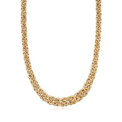Italian Graduated Byzantine Necklace in 18kt Yellow Gold Over Sterling, , default