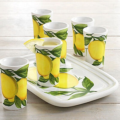 Abbiamo Tutto Italian Limoncello Ceramic Set: Small Tray and Six Glasses, , default