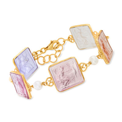 Italian Pastel Venetian Glass Intaglio and Cultured Pearl Bracelet in 18kt Gold Over Sterling