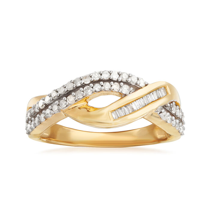 .48 ct. t.w. Baguette and Round Diamond Crisscross Ring in 14kt Gold Over Sterling