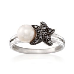 6mm Cultured Pearl and Black Diamond Accent Sea Star Ring in Sterling Silver, , default