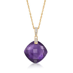 "13.00 Carat Amethyst Necklace With Diamonds in 14kt Yellow Gold. 18"", , default"