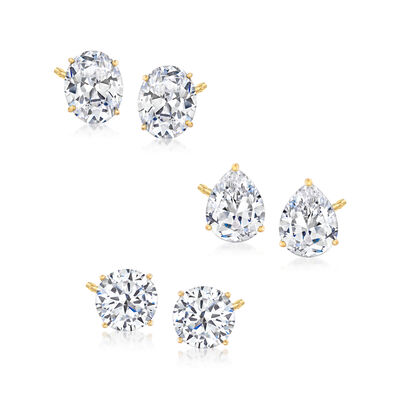 13.20 ct. t.w. CZ Jewelry Set: Three Pairs of Stud Earrings in 18kt Gold Over Sterling, , default
