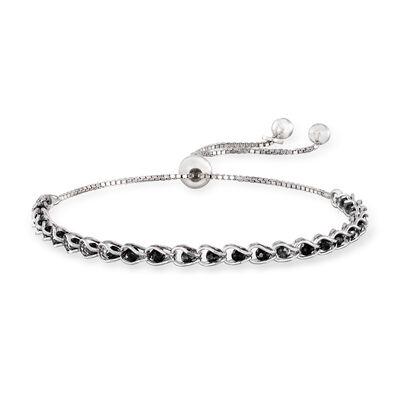 Italian Black CZ Bead Bolo Bracelet in Sterling Silver, , default