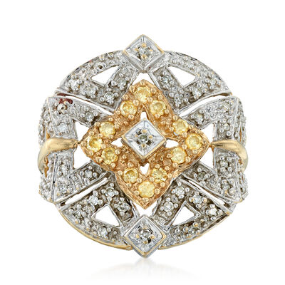 C. 1990 Vintage .55 ct. t.w. Yellow and White Diamond Starburst Ring in 14kt Two-Tone Gold, , default