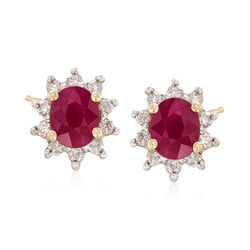 .80 ct. t.w. Ruby and .20 ct. t.w. Diamond Halo Earrings in 14kt Yellow Gold , , default