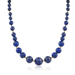 6-13mm Lapis Bead Necklace With 14kt Yellow Gold, , default
