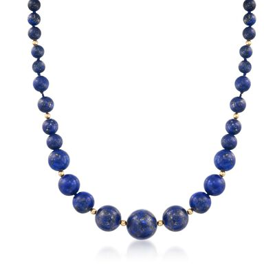 6-13mm Lapis Bead Graduated Necklace with 14kt Yellow Gold, , default