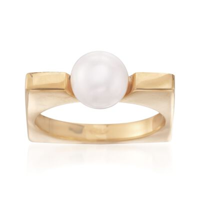 Italian 8mm Cultured Pearl Squared Ring in 24kt Yellow Gold Over Sterling, , default
