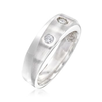 Men's .33 ct. t.w. Diamond Sash Ring in 14kt White Gold, , default