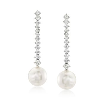 """Mikimoto """"Classic"""" 2.00 ct. t.w. Diamond and 12mm A+ South Sea Pearl Drop Earrings in 18kt White Gold , , default"""