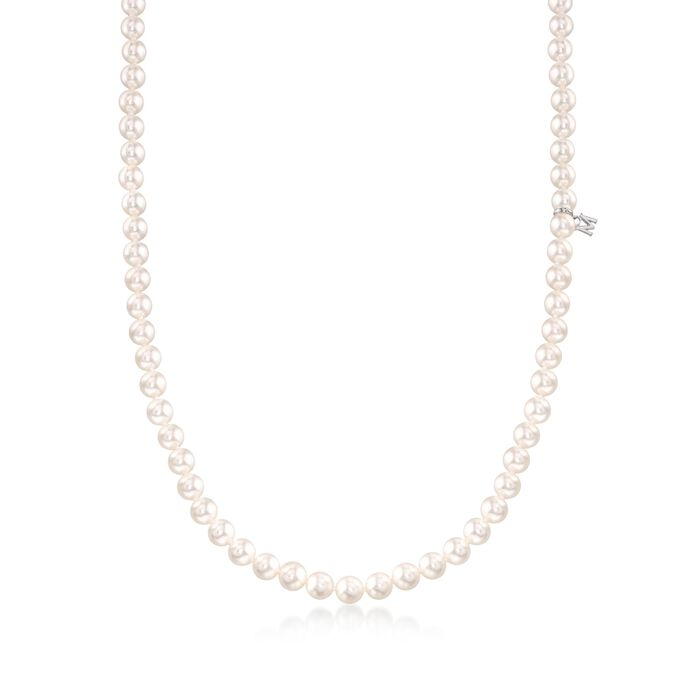 "Mikimoto 6-6.5mm 'A' Akoya Pearl Necklace in 18kt White Gold. 18"", , default"