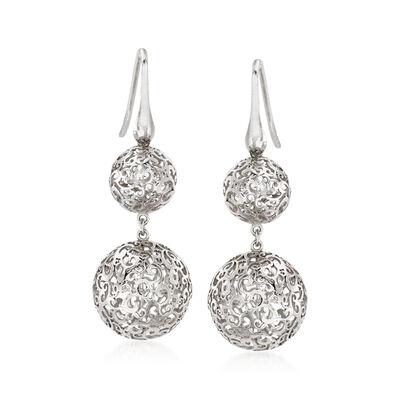 Italian Sterling Silver Openwork Filigree Bead Drop Earrings