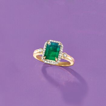 2.00 Carat Emerald and .17 ct. t.w. Diamond Ring in 14kt Yellow Gold, , default