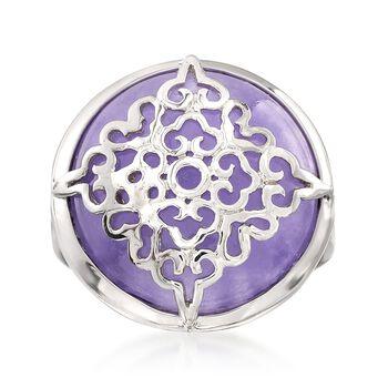 Purple Jade Ring in Sterling Silver, , default