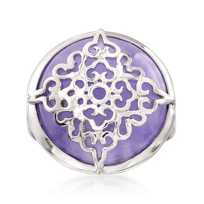 Purple Jade Ring in Sterling Silver, , default