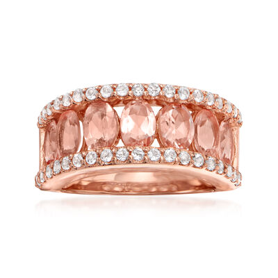 2.80 ct. t.w. Morganite and .60 ct. t.w. White Topaz Ring in 18kt Rose Gold Over Sterling