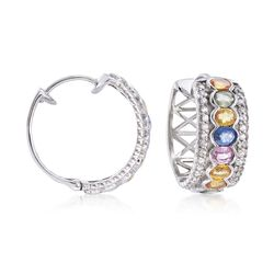 "3.60 ct. t.w. Multicolored Sapphire and .60 ct. t.w. White Zircon Hoop Earrings in Sterling Silver. 3/4"", , default"