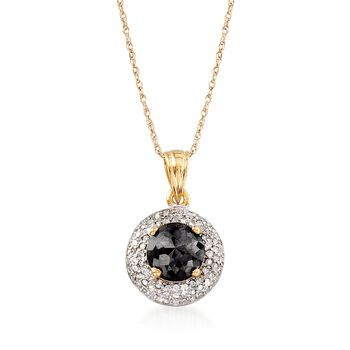 1.00 ct. t.w. Black and White Diamond Pendant Necklace in 14kt Yellow Gold, , default