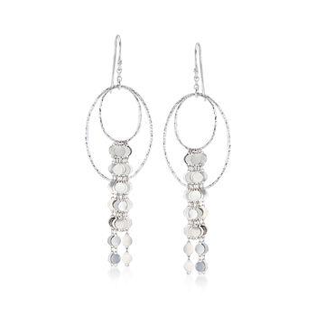 Italian Sterling Silver Double Oval Drop Earrings , , default