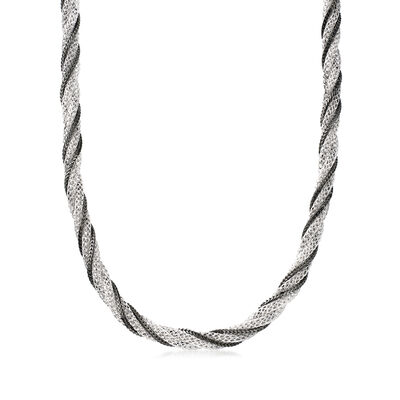 Italian Twisted Mesh Foxtail-Link Necklace in Sterling Silver with Black Rhodium
