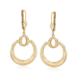 18kt Yellow Gold Double Circle Drop Earrings, , default