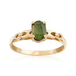 C. 1980 Vintage .65 Carat Green Sapphire Ring in 14kt Yellow Gold, , default