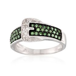 .44 ct. t.w. Green and White Diamond Buckle Ring in Sterling Silver, , default