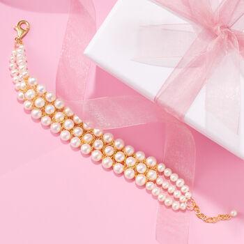 """4-7.5mm Cultured Pearl Bracelet in 18kt Gold Over Sterling. 7.5"""", , default"""