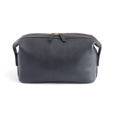 Royce Black Pebbled Leather Double-Zip Toiletry Bag